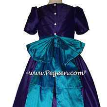 Peacock (teal) and Royal Purple flower girl dresses in silk style 345 by Pegeen