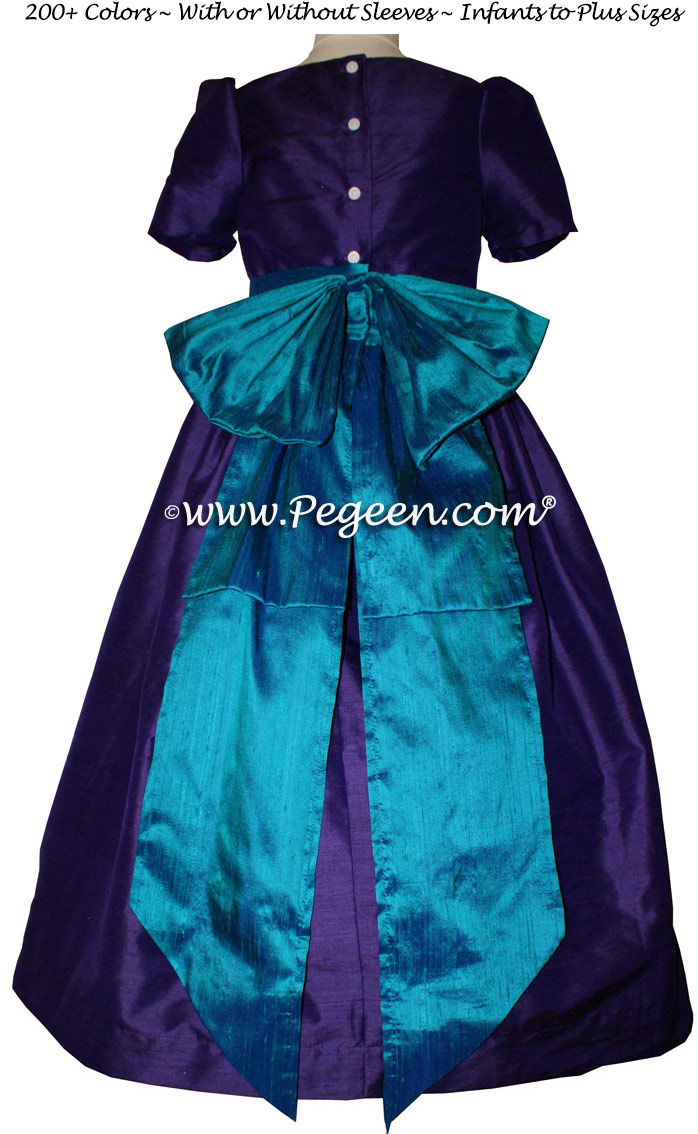Flower Girl Dresses Classic Style 345 Peacock (teal) and Purple | Pegeen
