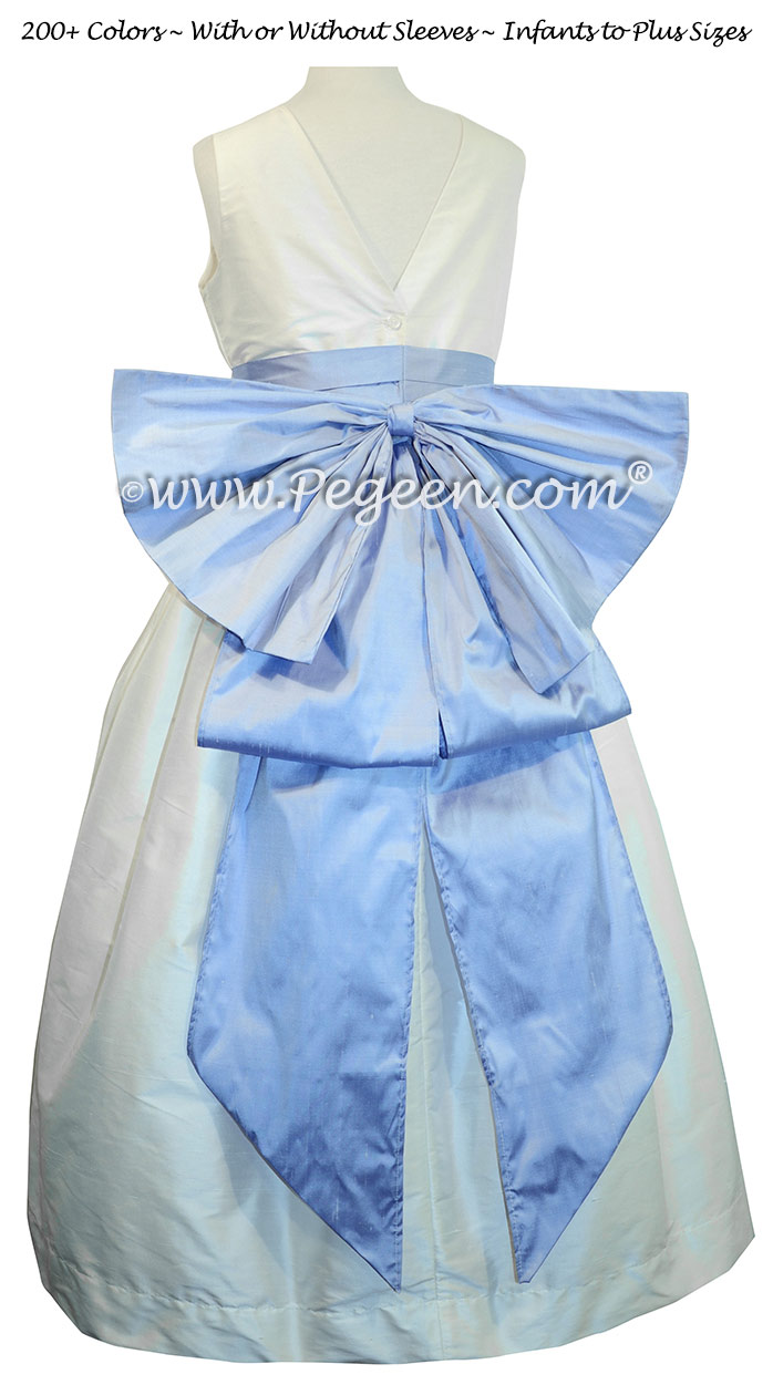 Antique White and Wisteria (light periwinkle) silk flower girl dresses
