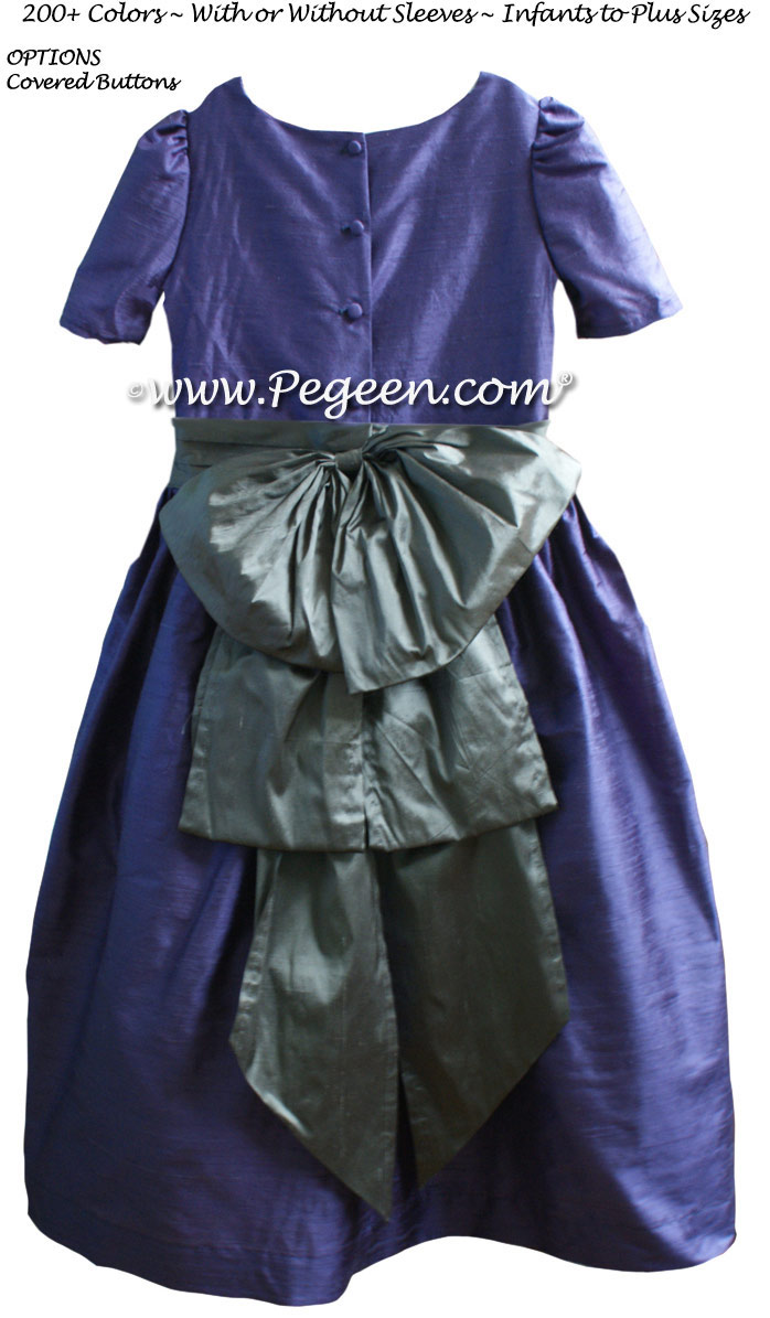 Periwinkle and morning grey custom silk flower girl dress