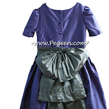 PERIWINKLE AND MORNING GRAY FLOWER GIRL DRESS WITH SLEEVES JR BRIDESMAIDS DRESSES