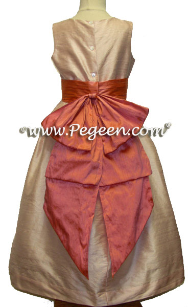 Custom Flower Girl Dresses in Coral Rose Silk by Pegeen Style 345 | Pegeen