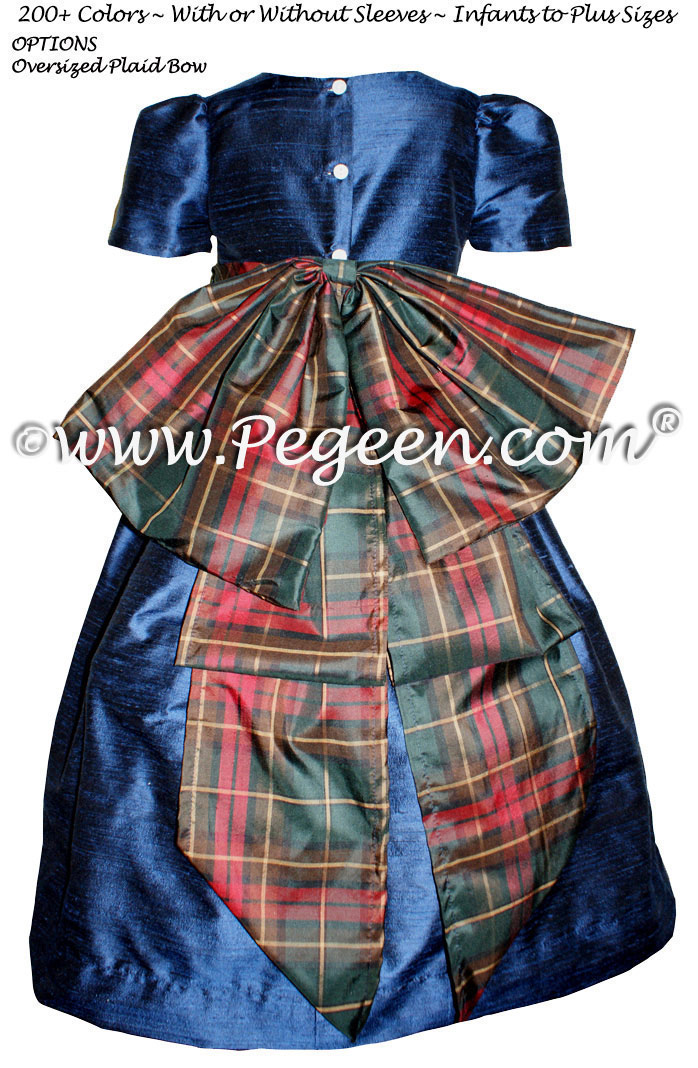 Navy and Christmas Plaid Silk Flower Girl Dresses