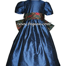 Navy Silk and Christmas Plaid Flower Girl Dresses by PEGEEN