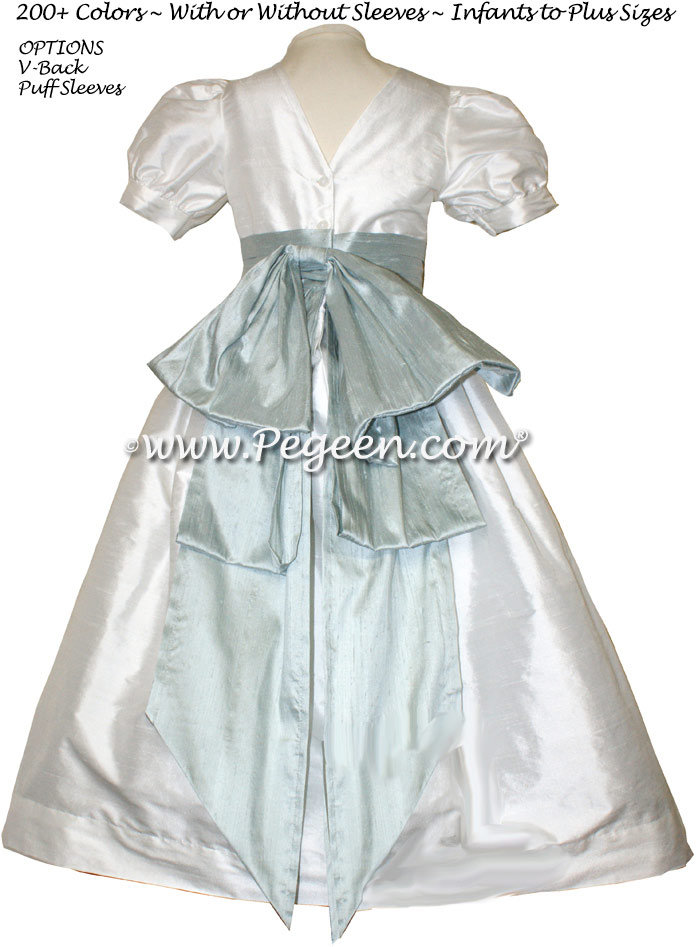Platinum gray and new ivory silk flower girl dresses by PEGEEN