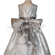 Silver Gray and Platinum flower girl dresses Style 345