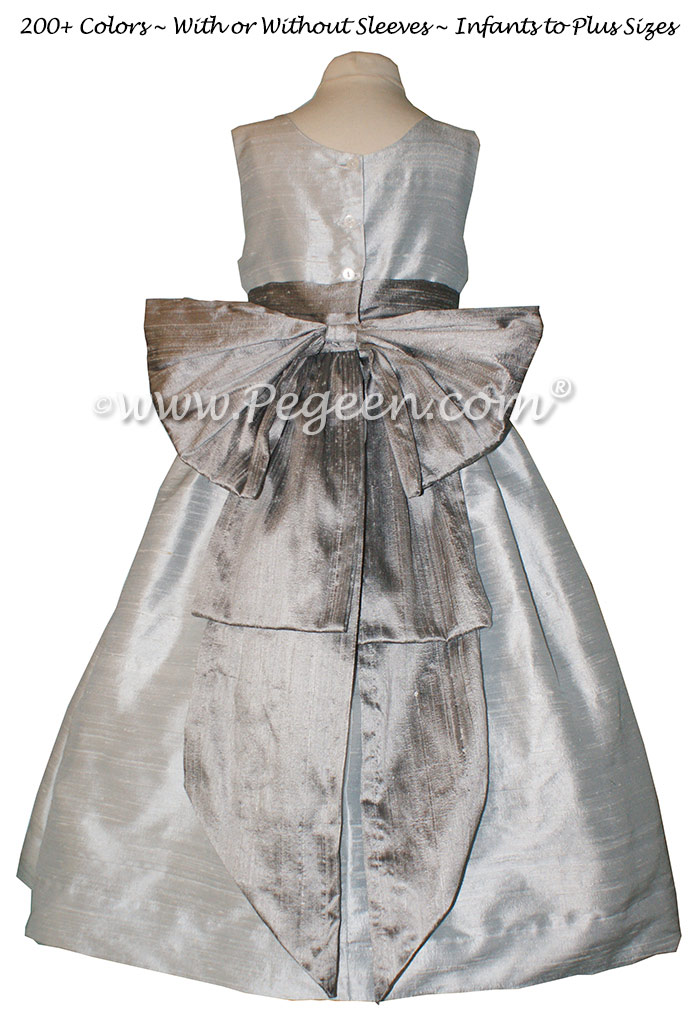 Platinum gray and silver silk flower girl dresses by PEGEEN