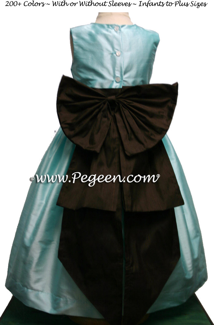 Pond Blue (Tiffany) and Chocolate Brown silk flower girl dresses by PEGEEN