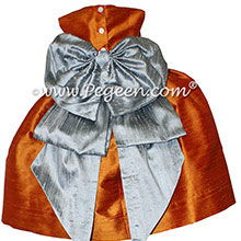 Custom Flower Girl Dresses in Silver Gray and Pumpkin Silk Style 345 by PEGEEN