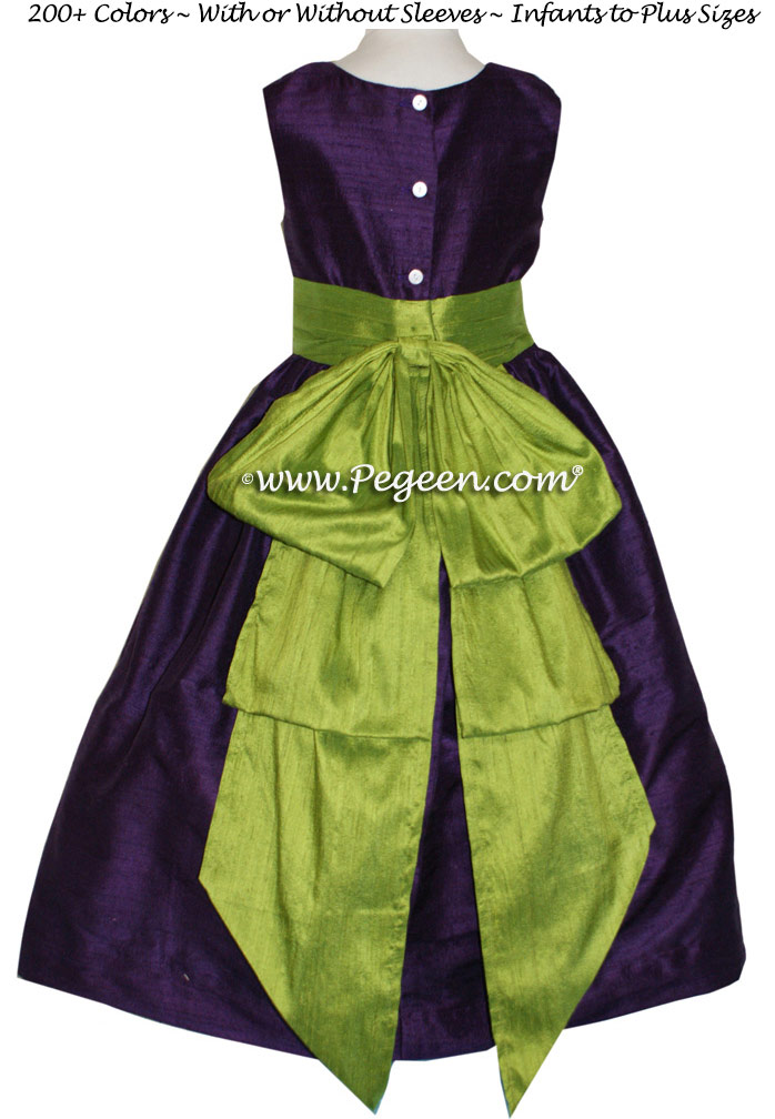 Grass Green and Deep Plum Flower Girl Dresses Style 345