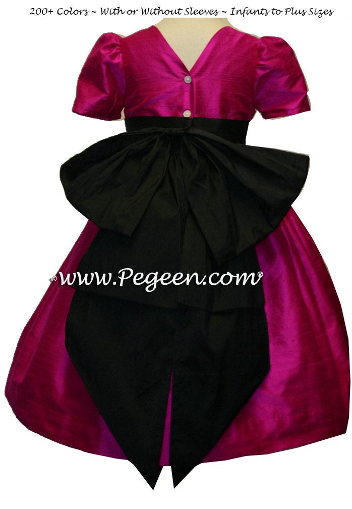 Flower girl dresses in raspberry pink and black silk | Pegeen