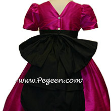 RASPBERRY AND BLACK SILK Flower Girl Dresses WITH LONG SLEEVES