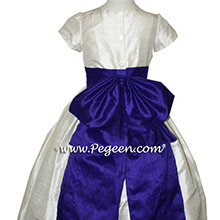 Royal Purple and Antique White flower girl dresses Style 345 by Pegeen