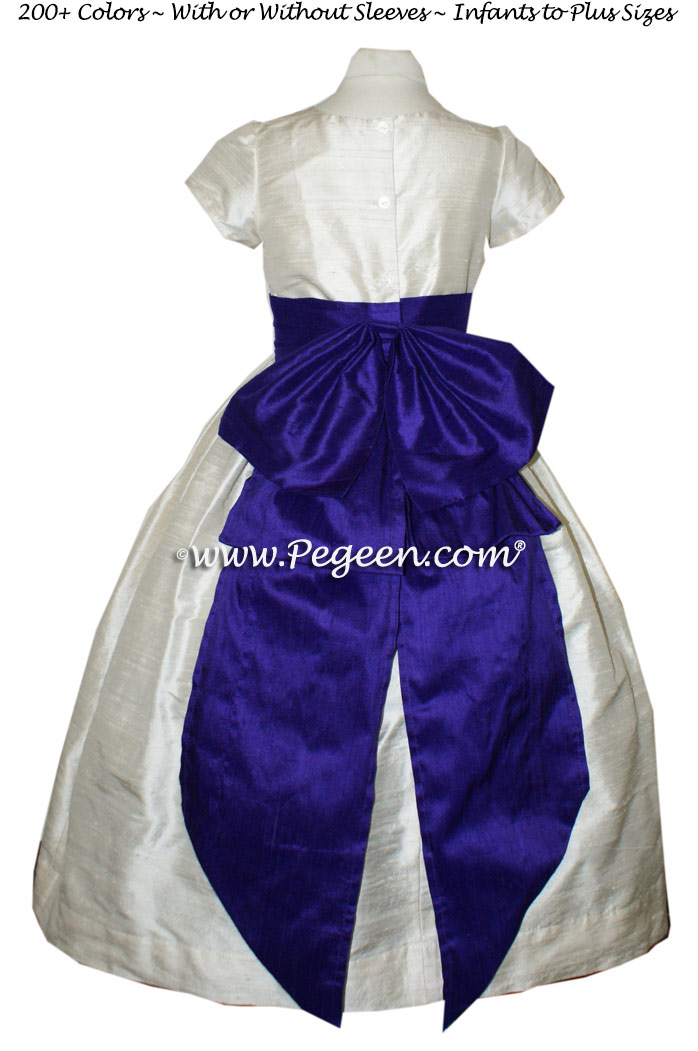 Royal Purple and Antique White flower girl dresses