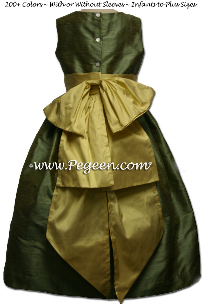 Pistashio Green Sage and Spun Gold jr bridesmaid dress