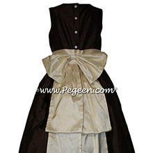 Chocolate brown and Buttercreme flower girl dresses by PEGEEN Style 345