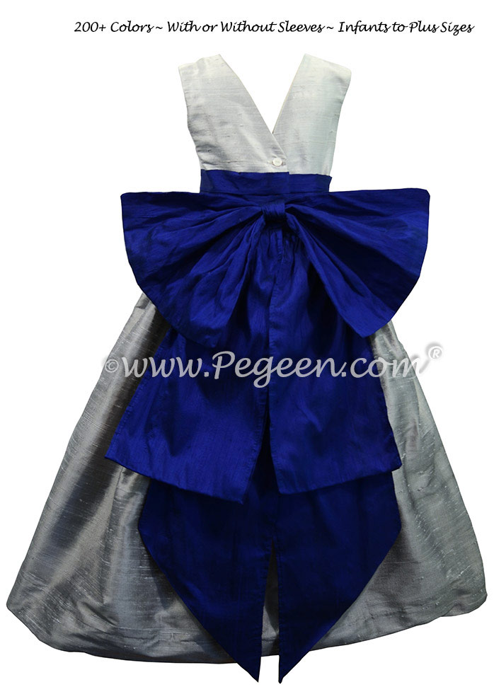 Silver Gray, Platinum Gray and Blue Indigo silk flower girl dresses