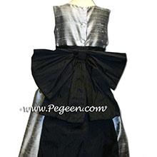 silver and  black silk flower girl dresses