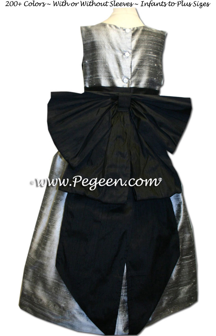 Silver Grey and Black silk flower girl dresses