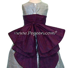 Silver Gray and Eggplant Silk Cinderella Style Bow Flower Girl Dresses