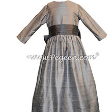 Silver Gray and Medium Gray silk Flower Girl Dress - Style 345