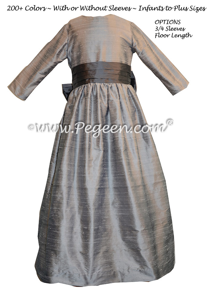 Silver Gray and Medium Gray silk flower girl dresses