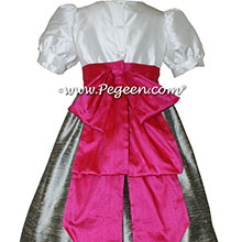 CUSTOM SILK PUFF SLEEVE Flower Girl Dresses IN NEW IVORY SILVER GRAY AND CERISE PINK style 345