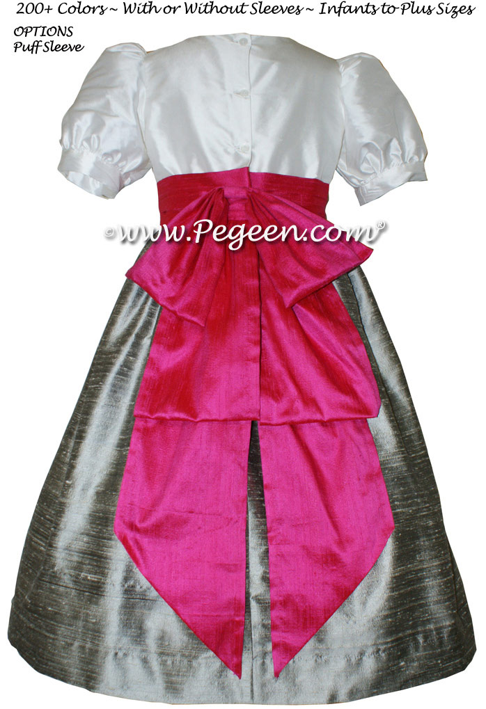 CUSTOM SILK PUFF SLEEVE FLOWER GIRL DRESSES IN NEW IVORY SILVER GRAY AND CERISE PINK