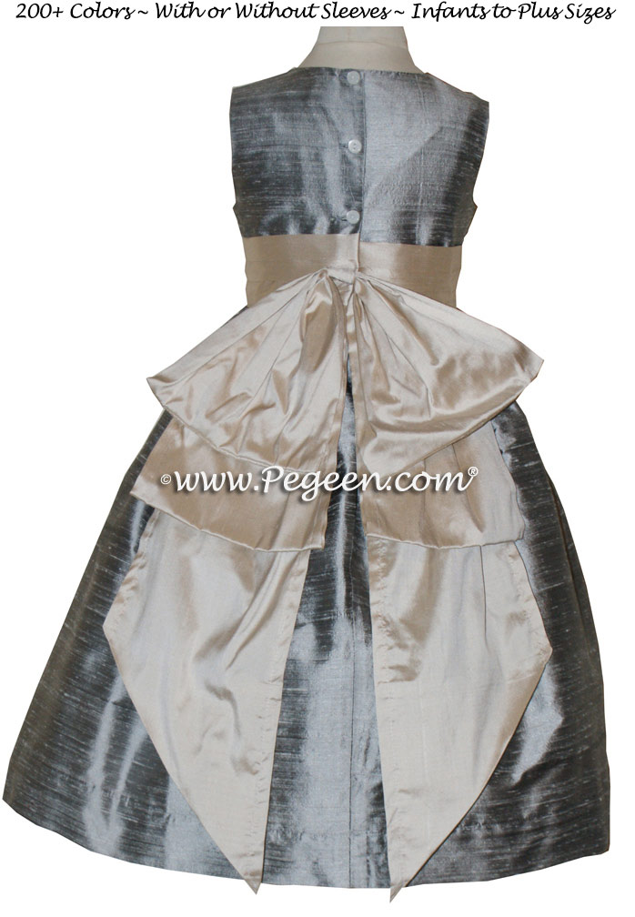 Silver Grey and Bisque silk flower girl dresses