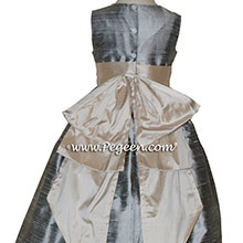 Custom flower girl dresses in SILVER GRAY AND SUMMER TAN from Pegeen