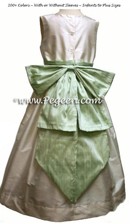 New Ivory and Spring Green Silk Flower Girl Dresses
