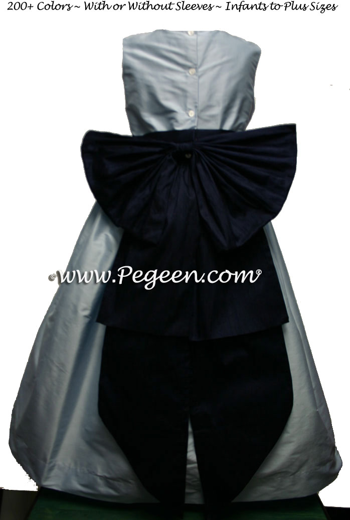 Steele Blue and Navy Blue flower girl dress or Light Baby Blue and Navy Blue Junior Bridesmaids dresses by Pegeen