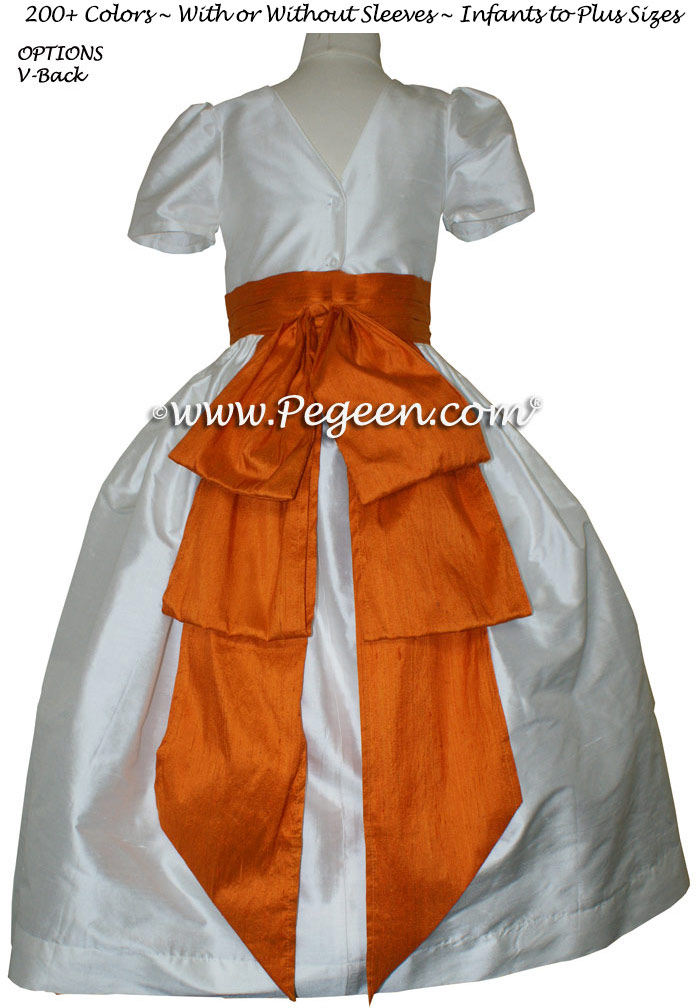 Flower Girl Dresses Tangerine Orange and Antique White Silk Style 345 | Pegeen