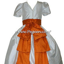 Tangerine and Antique White Silk Style 345 Flower Girl Dresses