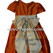 tangerine and tan flower girl dresses