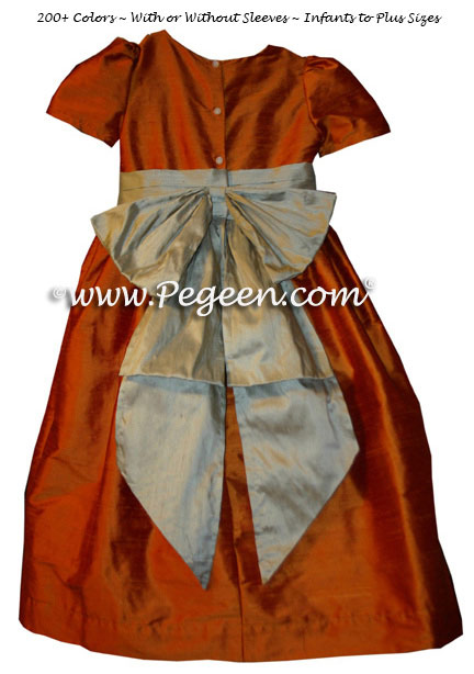 Flower Girl Dress Orange - Tangerine Silk Style 345 | Pegeen