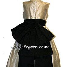 Tawny Gold and  Black flower girl dresses