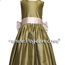 Sesame and peony pink junior bridesmaid dresses