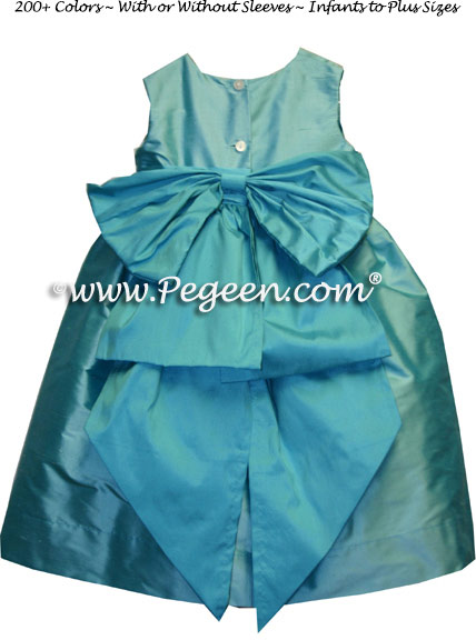 Tiffany Blue and Turquoise Silk Flower Girl Dresses Style 345
