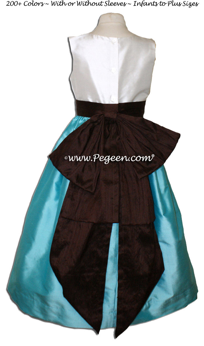 Semi Sweet And Tiffany Blue Silk Flower Girl Dresses Pegeen Flower