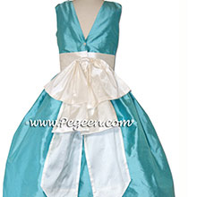 Tiffany blue and NEW IVORY silk Flower Girl Dresses