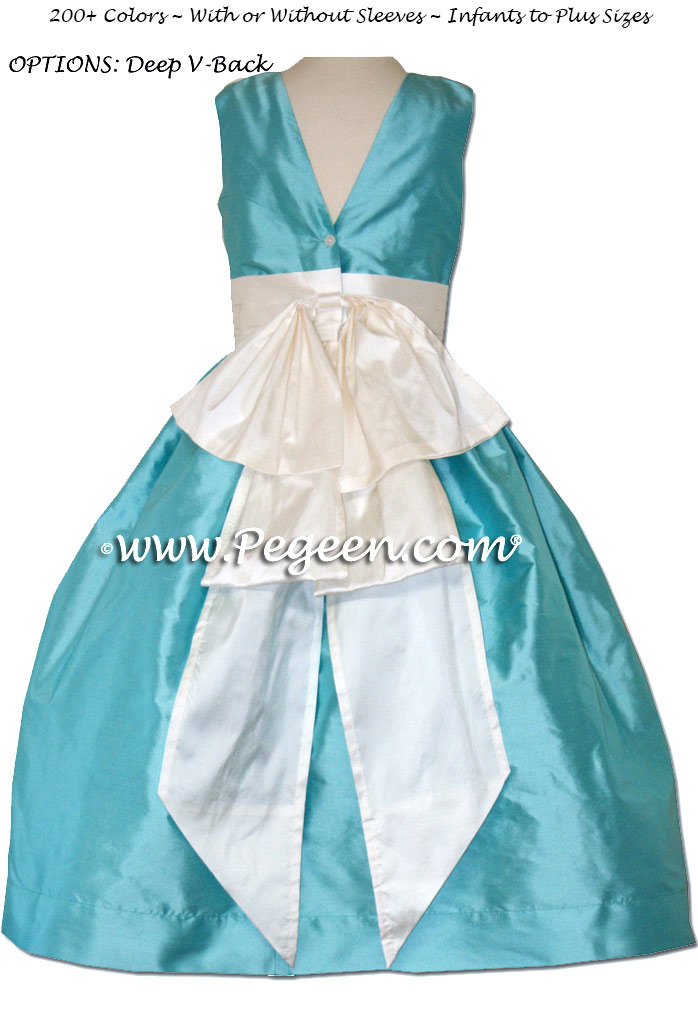 Tiffany Blue and New Ivory Silk Flower Girl Dresses Style 345