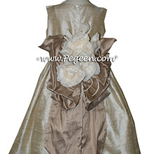 Toffee (light creme) and Antigua Taupe flower girl dresses Style 345