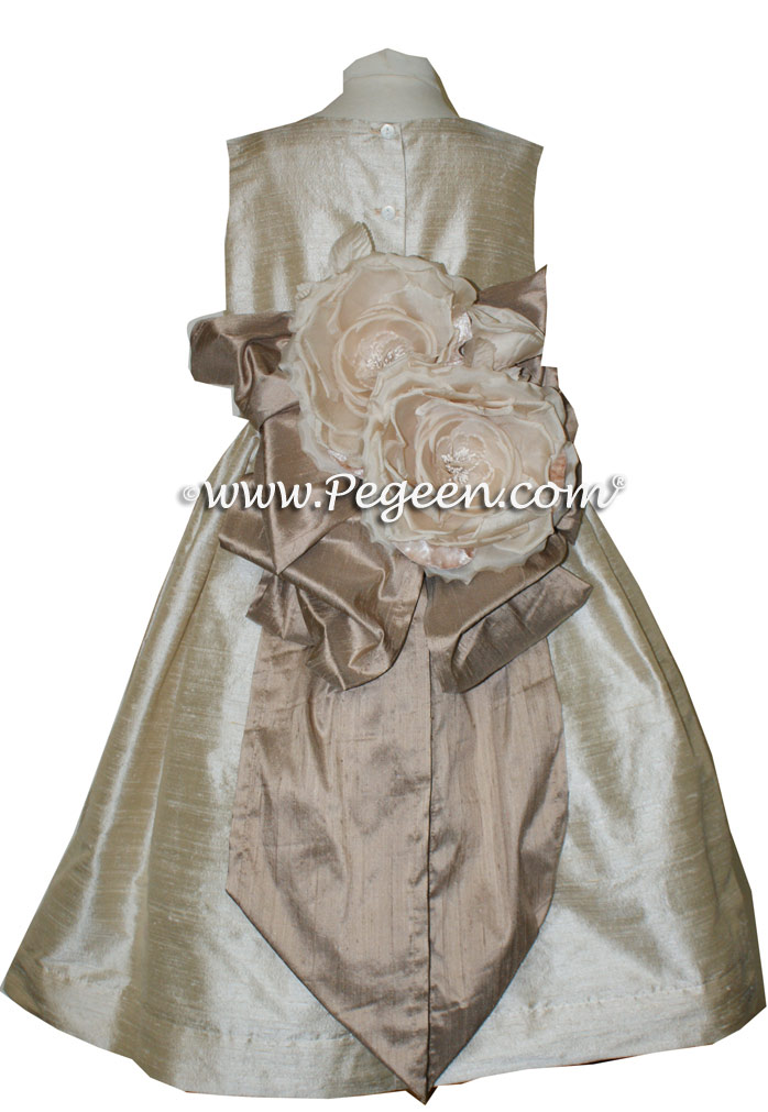 Toffee  and Antigua Taupe flower girl dresses Style 345