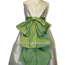 ivory and vine green silk flower girl dresses