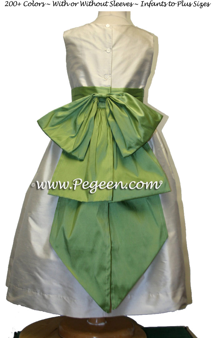 Flower Girl Dresses in Vine Green and New Ivory Style 345