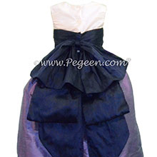 Violet & Grape Silk Cinderella Style Bow FLOWER GIRL DRESSES