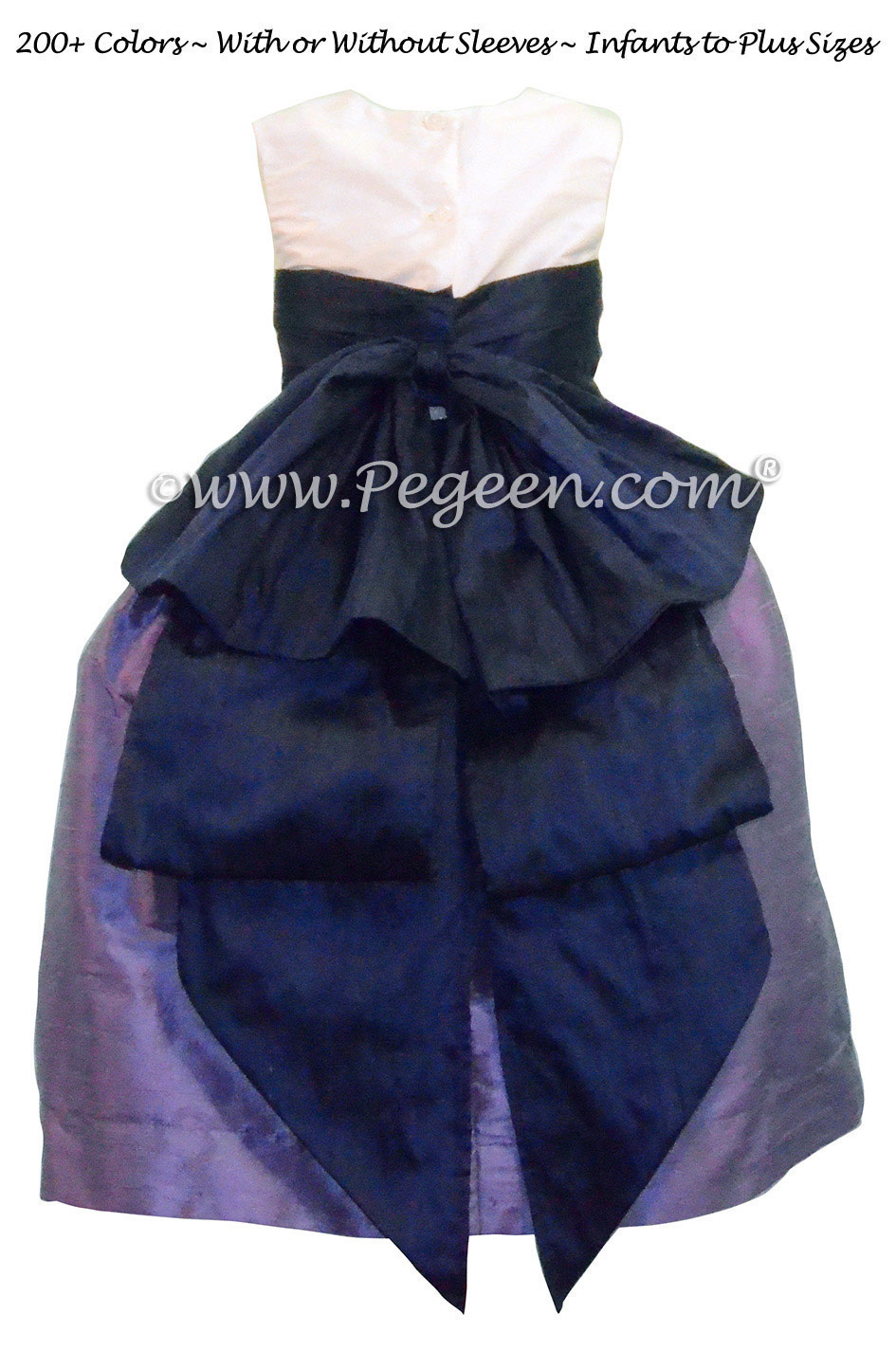 Flower Girl Dresses in Violet & Grape Silk Cinderella Style Bow Style 345