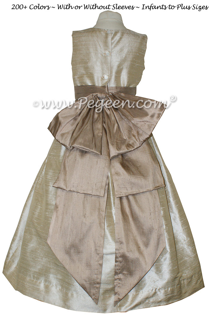 Wheat and Antigua Taupe flower girl dresses with Silk Cinderella Style Bow Style 345