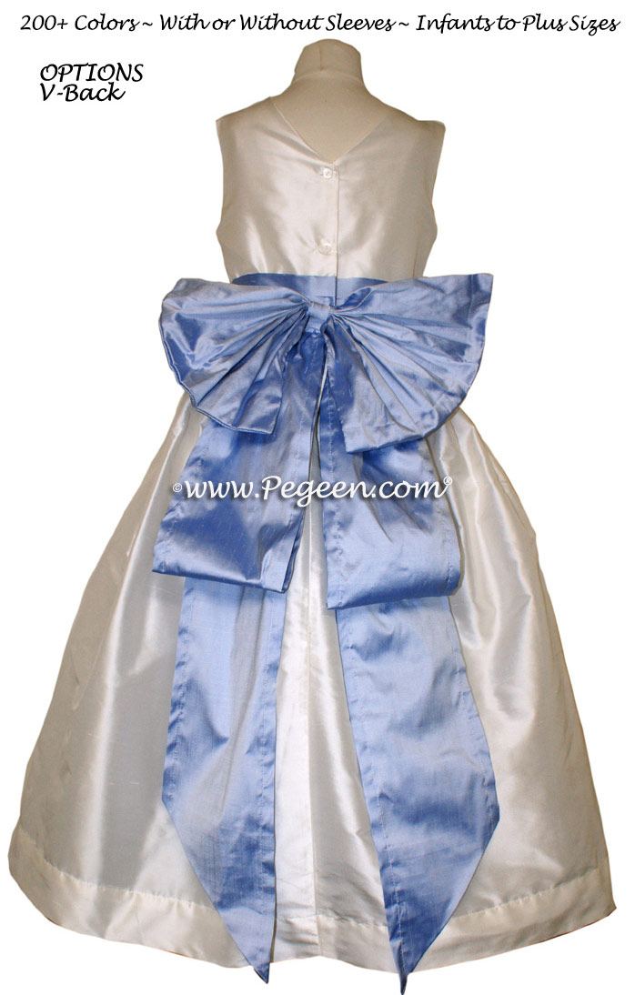 Wisteria (lavender) and New Ivory Silk Flower Girl Dresses Style 345